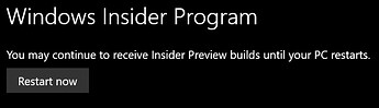 Leaving Windows Insider Release Preview