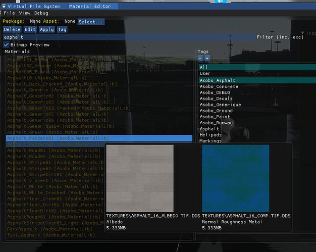 20200907 DEV Materials Editor c Bitmap Preview, Asphalt Selected