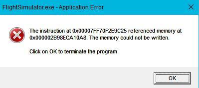 msfs 2020 error