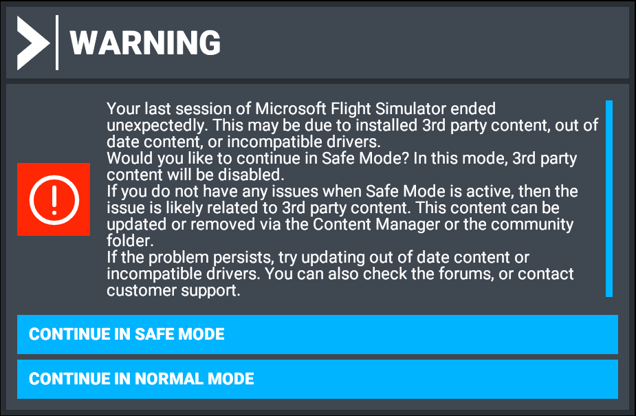 Safe Mode Message